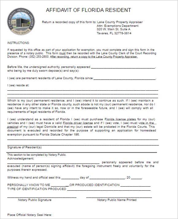 18 Florida Affidavit Form