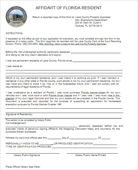 18 Florida Affidavit Form