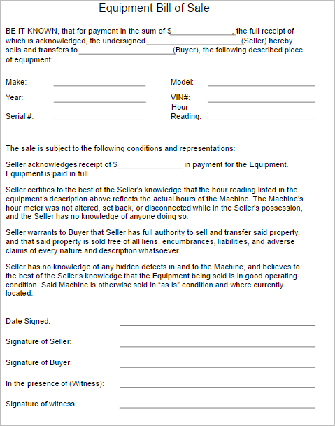 2 Equipment Bill of Sale Template