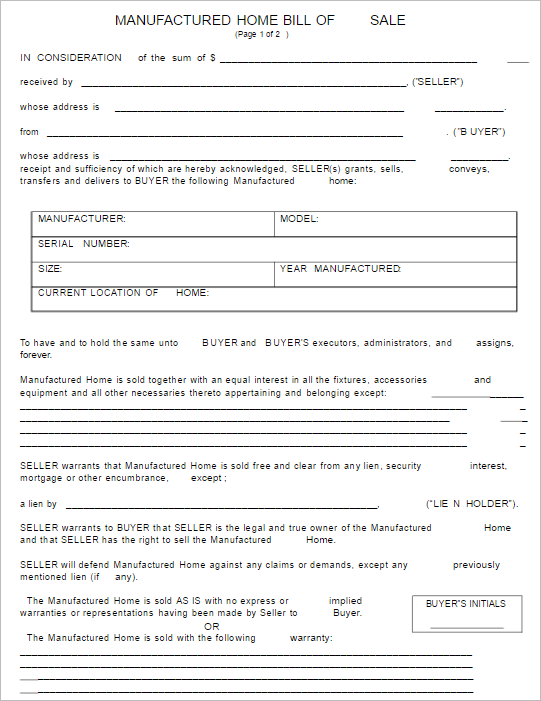 2 Manufactured Home Bill of Sale Template