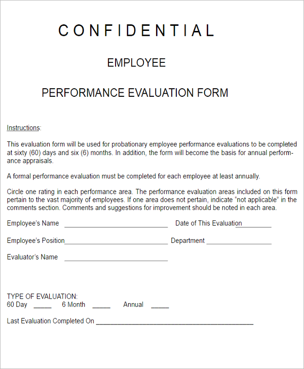 3 Employee Performance Evaluation Form