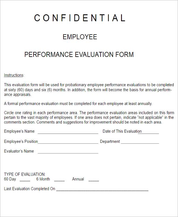 3 Employee Performance Evaluation Form