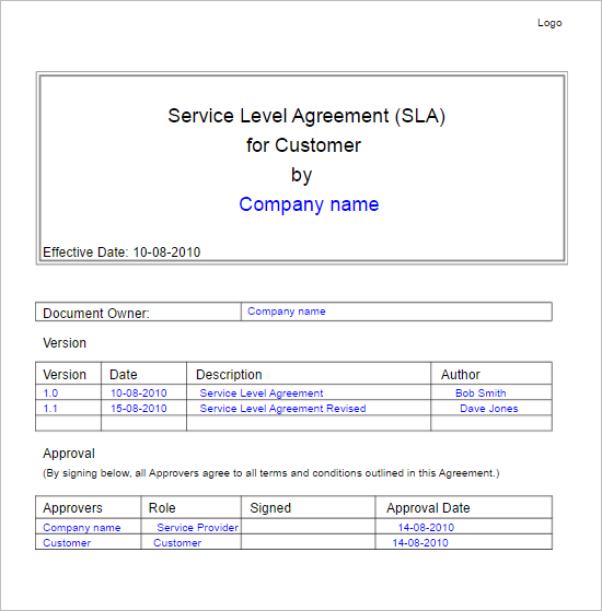4 Service Level Agreement Template
