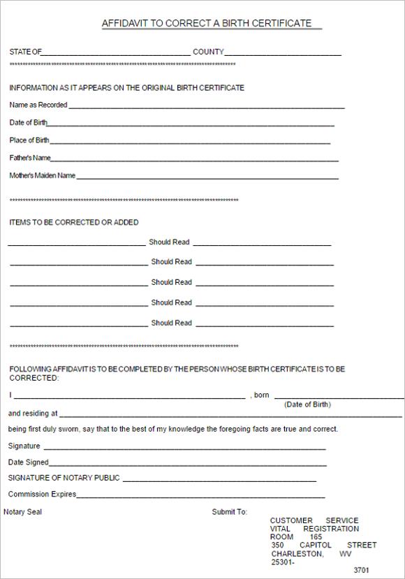 6 Birth Certificate Affidavit Form