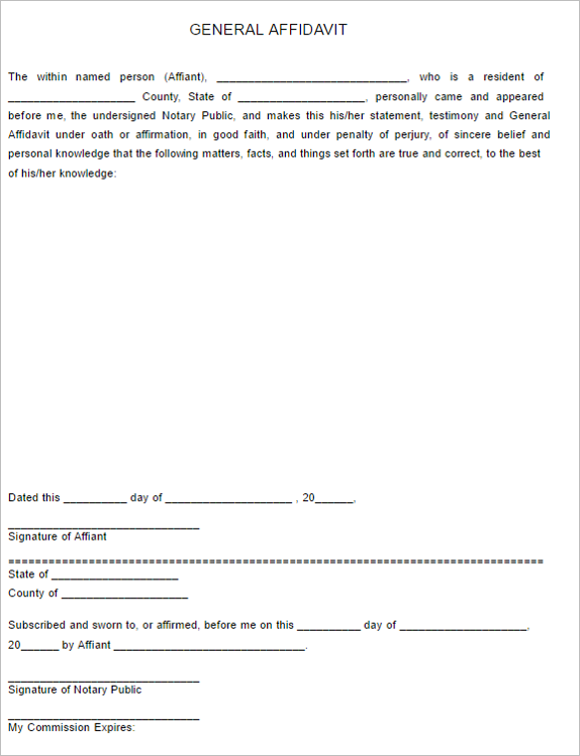 6 General Affidavit Form