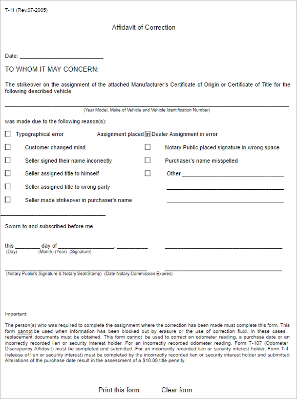 6 Georgia Affidavit Form