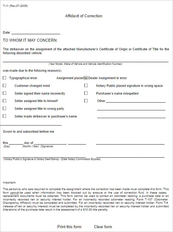 6 Georgia Affidavit Form