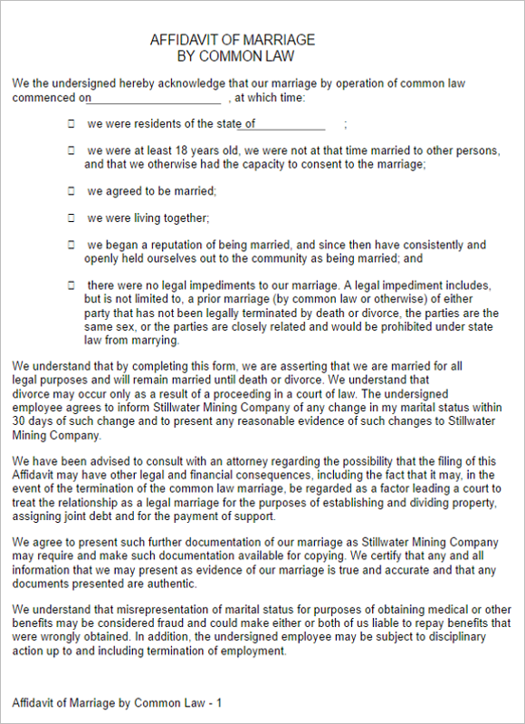 6 Marriage Affidavit Form