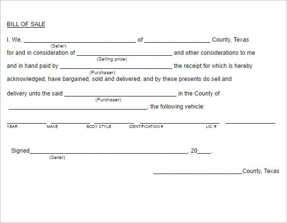 6 Multiple Texas Bill of Sale Form Template