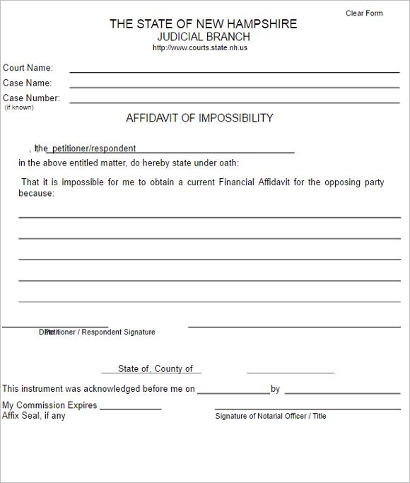 Affidavit Impossibility Form