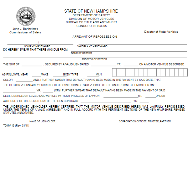 Affidavit Repossession Form