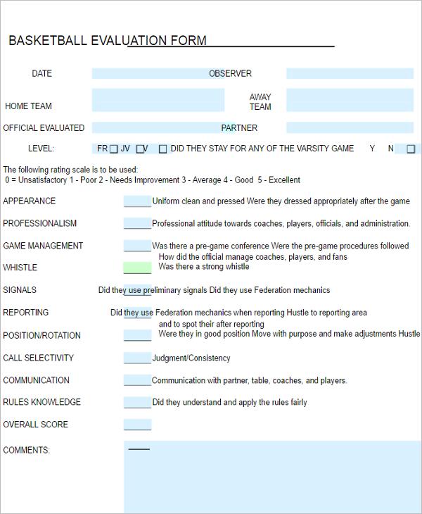 Basketball Evaluation Form Theme