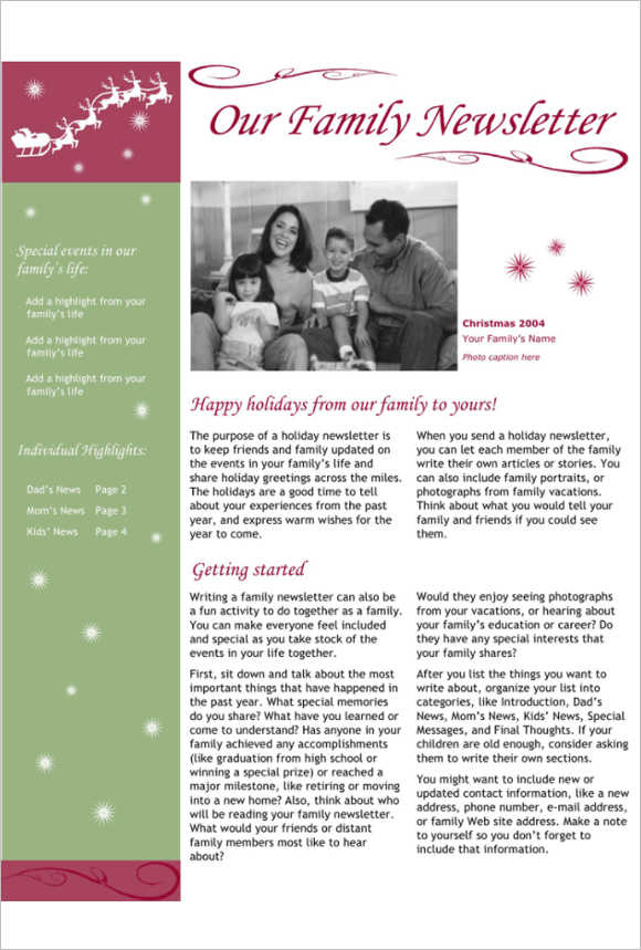 Family Newsletter Template   170 Newsletter Templates Word Free Premium Documents