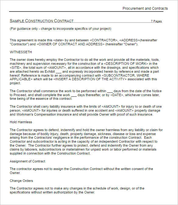 Construction Contract Sample Templates Constructioncontract