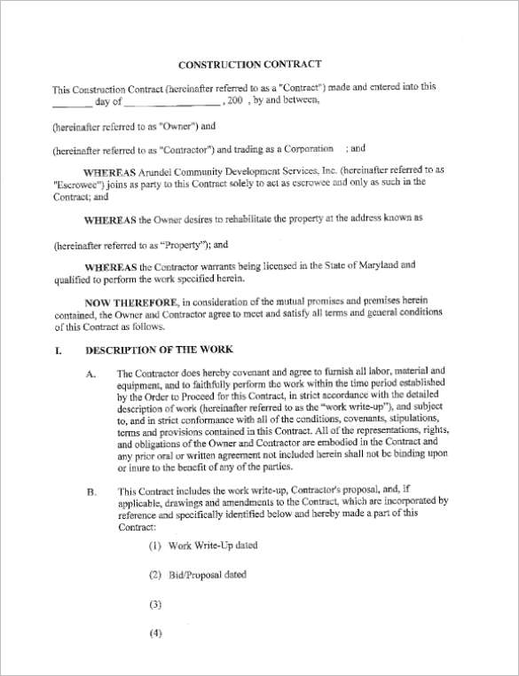 31 free construction contract templates doc word pdf samples