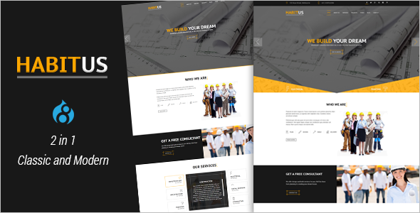 Construction Drupal 8 Responsive Theme