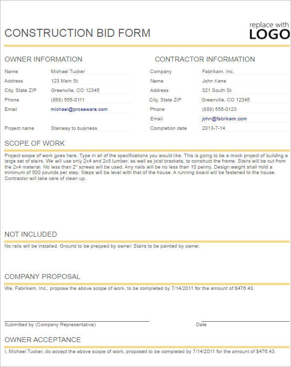 Construction Proposal Template Form