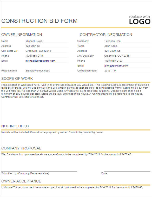 Construction Contract Template  Free  Premium Templates