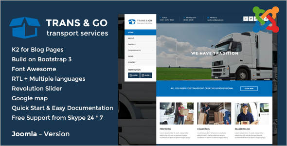 Corporate ransport & Logistics Joomla Template