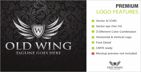 Crest logo Wings Design Template