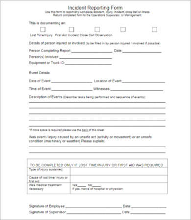 Incident Report Form  Free  Premium Templates  Creative Template