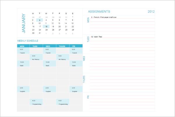 Download Weekly Schedule Template