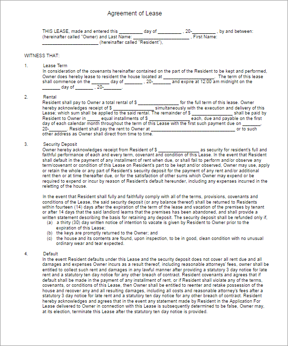 Downloadable Agreement Form Of Rental Lease