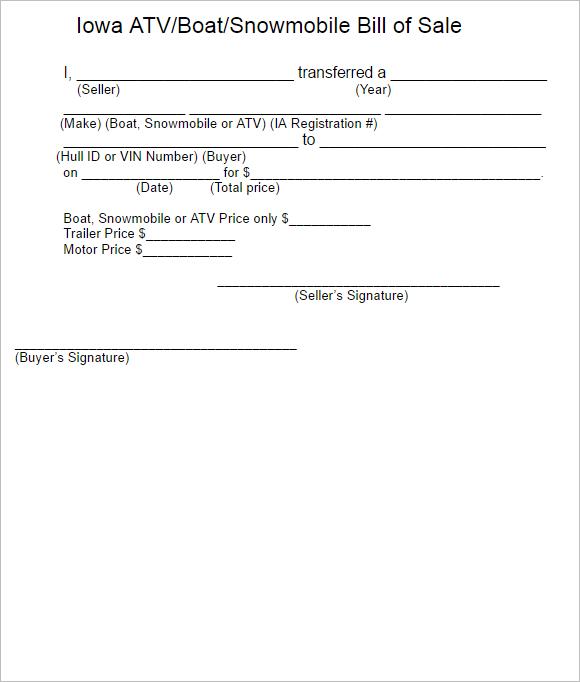 Downloadable Atv Bill Of Sale