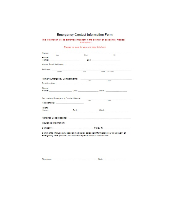 Downloadable Emergency Forms