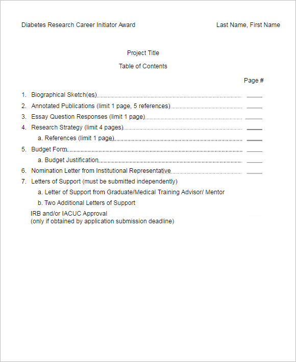 Downloadable Table Of Content Template