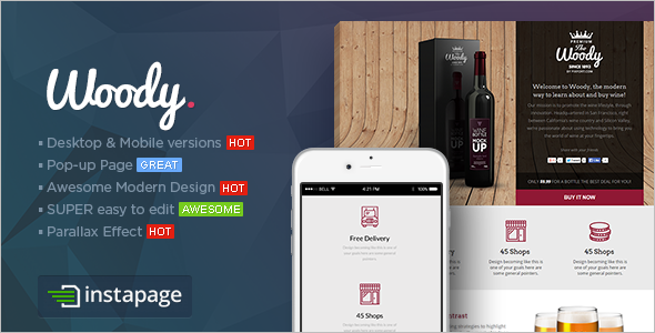 Drink Shop Instapage Landing page Template
