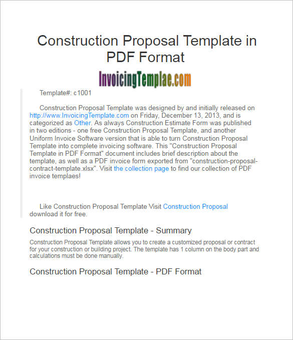 Editable Construction Proposal Template ...  Free Construction Proposal Template