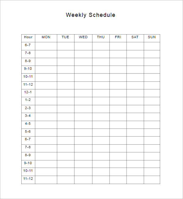 Editable Weekly Schedule Template ...