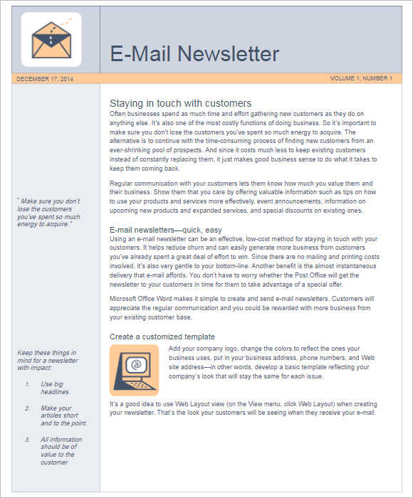 4 Email Newsletter Template ...  Newsletter Templates In Word
