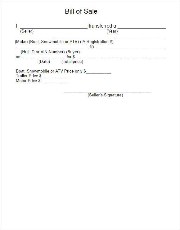 15 free atv bill of sale templates pdf word formats. Black Bedroom Furniture Sets. Home Design Ideas