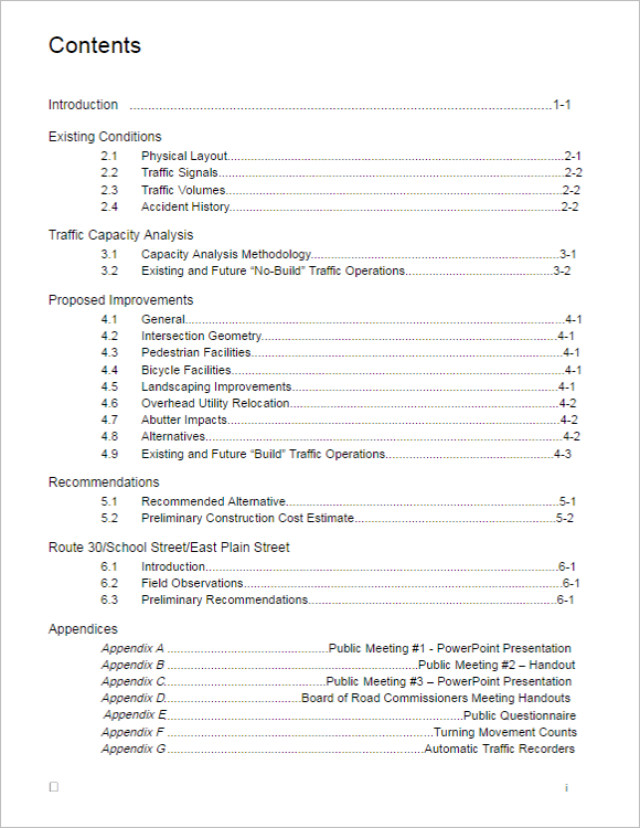 Free Template For Table Contents