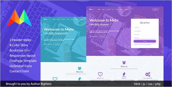 HTML5 Startup Landing Template