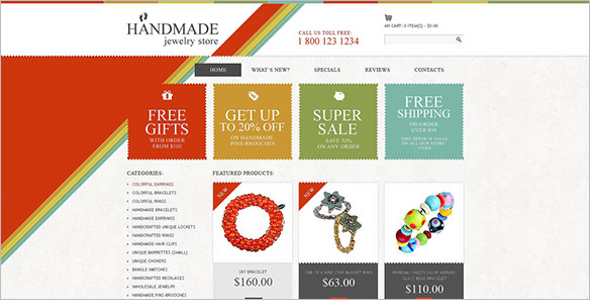 Handmade Jewelry Store OsCommerce Template