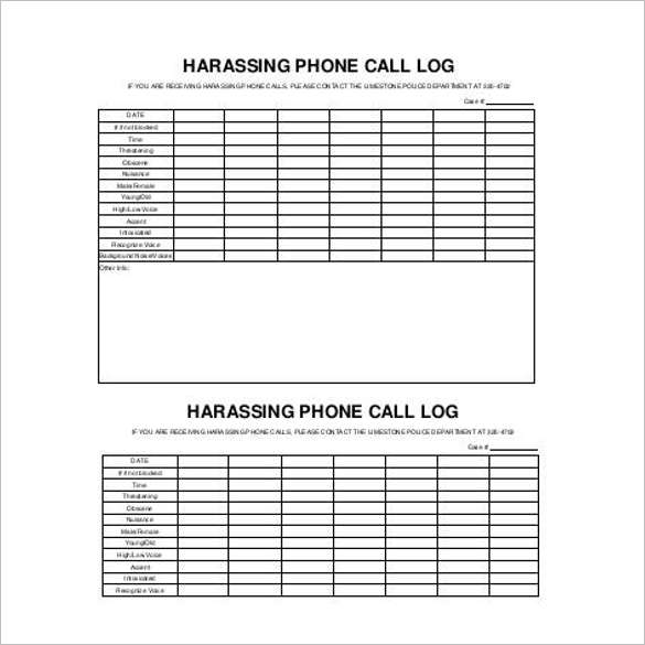 Harassing Contact Call Log Template