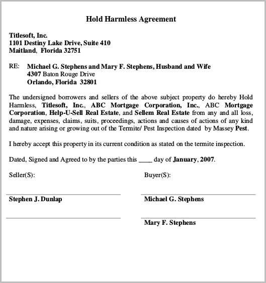 Hold Harmless Agreement for Real Estate