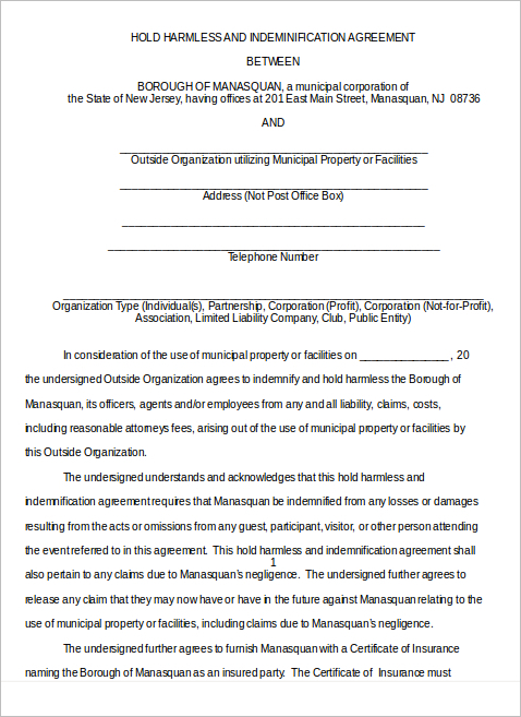 Hold Harmless Agreement Templates Free Wording Pdf Samples