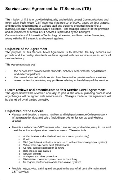 it services contract agreement template