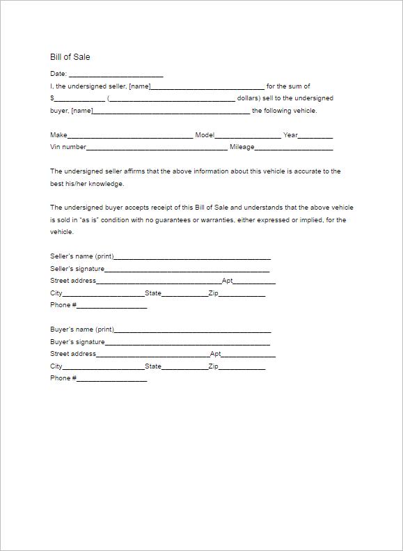 Latest Car Bill Form Ideas