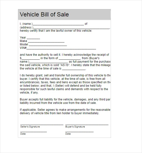 bill of sale sold as is