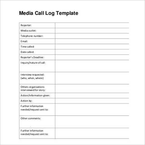 Media Contact Call Log Template