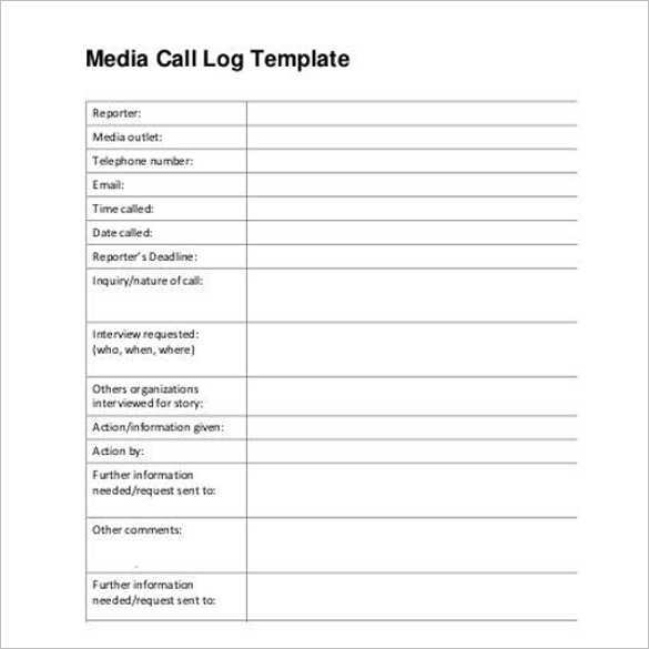 Media Contact Call Log Template