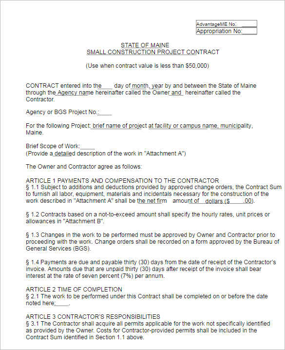 Modern Construction Contract Template