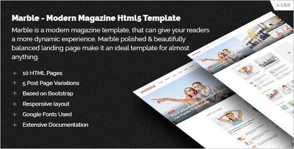 Modern Magazine HTML5 Template