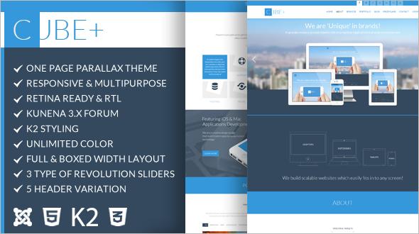 Modern Multipurpose Parallax Joomla Template