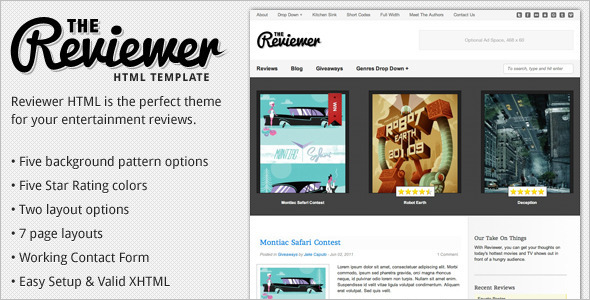 Movie Reviews Html Theme Outlook